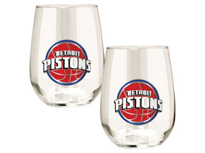 Detroit Pistons Great American 2pc 16oz Stemless Wine Glass Set