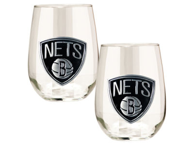 Brooklyn Nets Great American 2pc 16oz Stemless Wine Glass Set