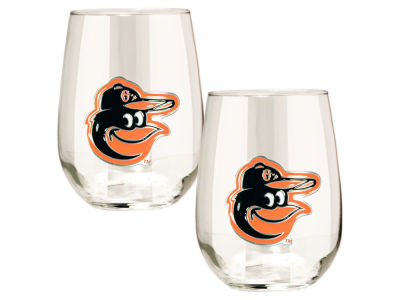 Baltimore Orioles Great American 2pc 16oz Stemless Wine Glass Set