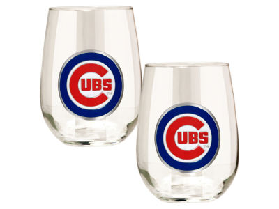 Chicago Cubs Great American 2pc 16oz Stemless Wine Glass Set