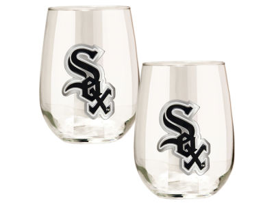 Chicago White Sox Great American 2pc 16oz Stemless Wine Glass Set