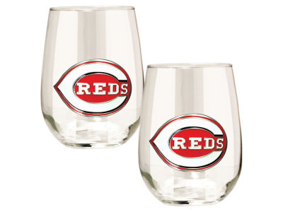 Cincinnati Reds Great American 2pc 16oz Stemless Wine Glass Set