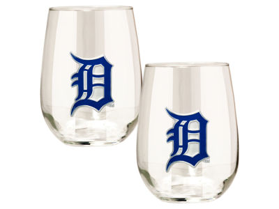 Detroit Tigers Great American 2pc 16oz Stemless Wine Glass Set