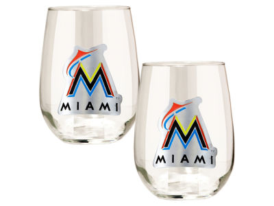 Miami Marlins Great American 2pc 16oz Stemless Wine Glass Set
