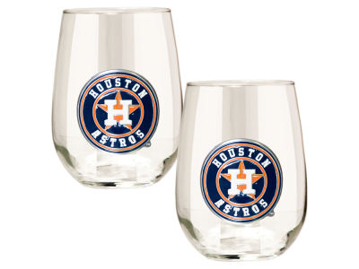 Houston Astros Great American 2pc 16oz Stemless Wine Glass Set