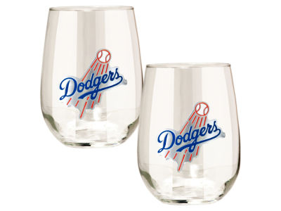 Los Angeles Dodgers Great American 2pc 16oz Stemless Wine Glass Set