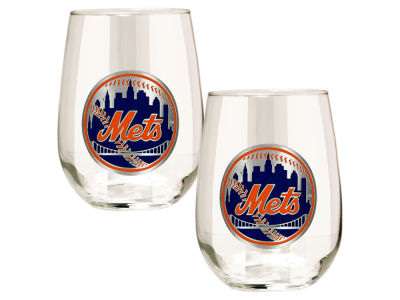 New York Mets Great American 2pc 16oz Stemless Wine Glass Set