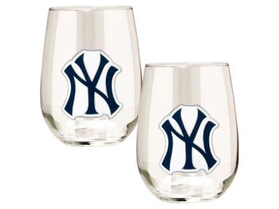 New York Yankees Great American 2pc 16oz Stemless Wine Glass Set