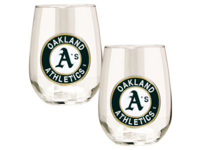 Oakland Athletics Great American 2pc 16oz Stemless Wine Glass Set