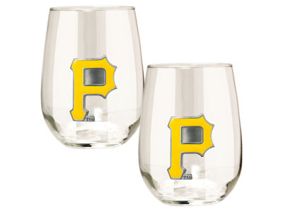 Pittsburgh Pirates Great American 2pc 16oz Stemless Wine Glass Set
