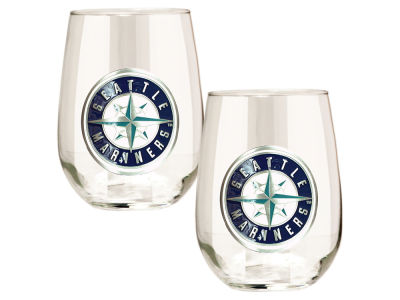 Seattle Mariners Great American 2pc 16oz Stemless Wine Glass Set