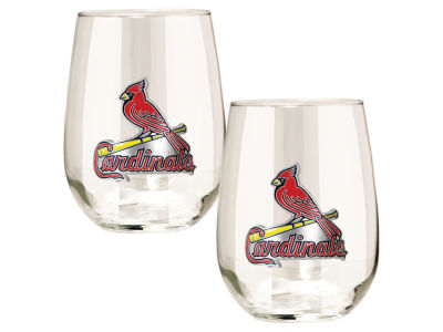 St. Louis Cardinals Great American 2pc 16oz Stemless Wine Glass Set