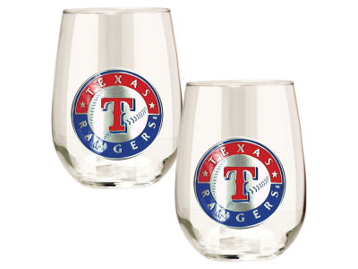 Texas Rangers Great American 2pc 16oz Stemless Wine Glass Set