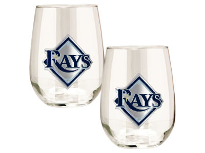 Tampa Bay Rays Great American 2pc 16oz Stemless Wine Glass Set