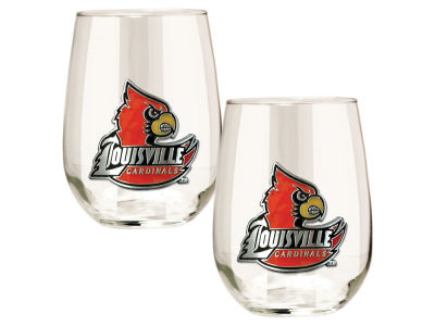 Louisville Cardinals Great American 2pc 16oz Stemless Wine Glass Set