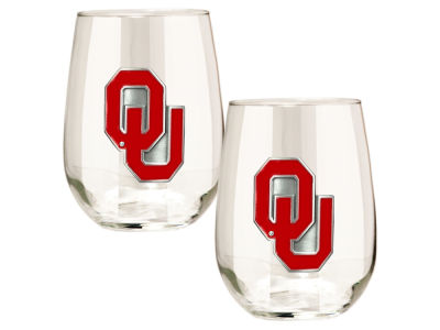 Oklahoma Sooners Great American 2pc 16oz Stemless Wine Glass Set