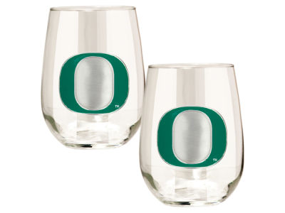 Oregon Ducks Great American 2pc 16oz Stemless Wine Glass Set