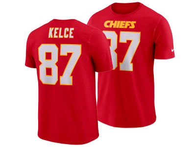 Kansas City Chiefs Travis Kelce Nike NFL Men's Pride Name and Number Wordmark T-shirt