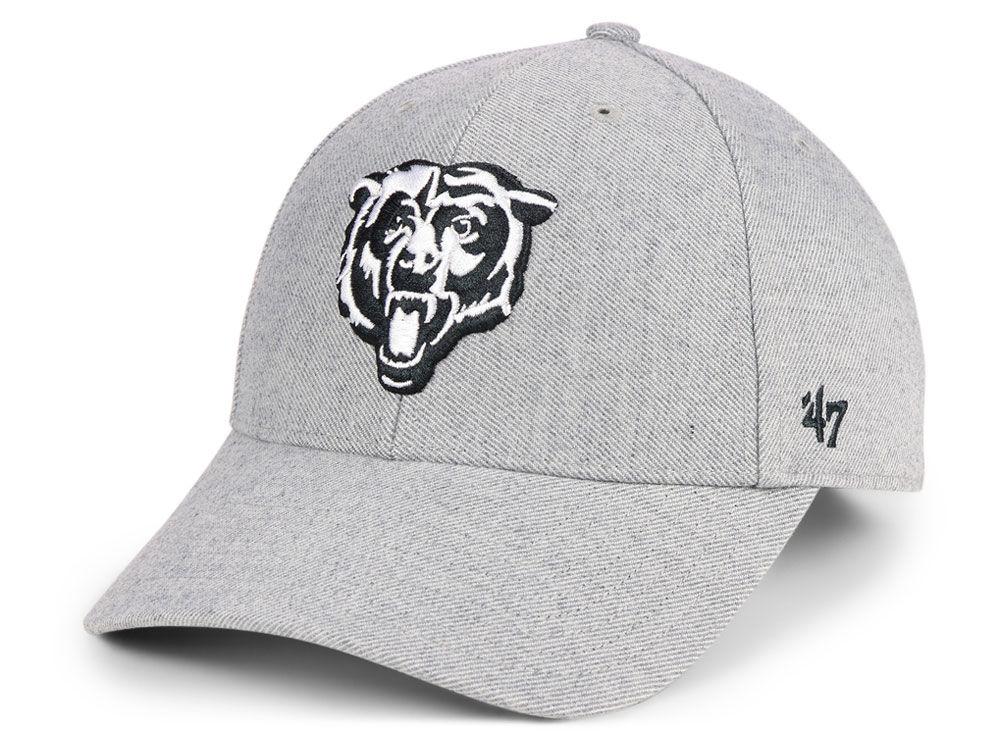3ccfbd182 Chicago Bears  47 NFL Heathered Black White MVP Cap