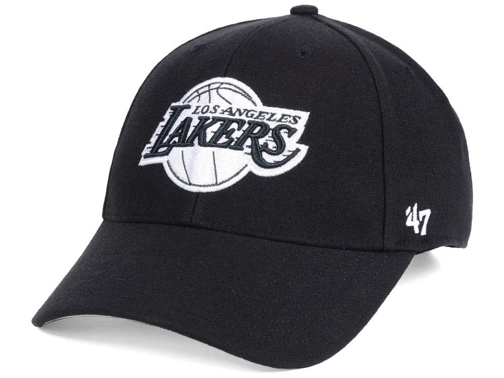 Los Angeles Lakers  47 NBA Black White MVP Cap  f8bd1a101