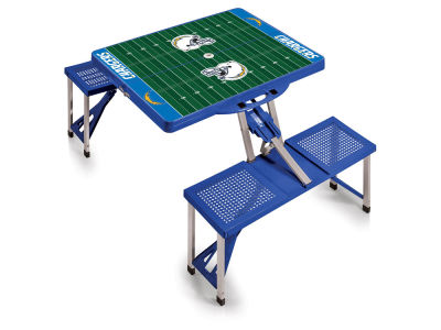 Los Angeles Chargers Picnic Time Picnic Table Portable Folding Table with Seats