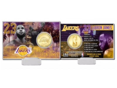 Los Angeles Lakers LeBron James Highland Mint NBA Bronze Coin Card