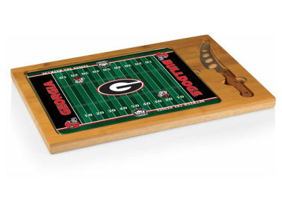 Georgia Bulldogs Picnic Time Icon Glass Top Serving Tray & Knife Set