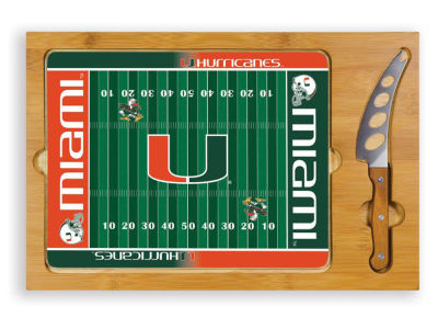 Miami Hurricanes Picnic Time Icon Glass Top Serving Tray & Knife Set