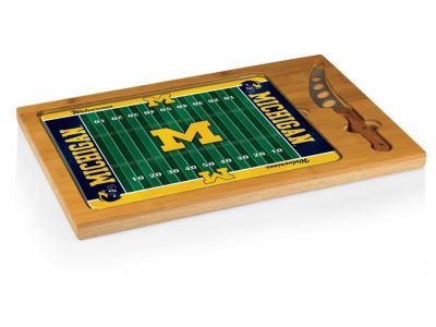 Michigan Wolverines Picnic Time Icon Glass Top Serving Tray & Knife Set