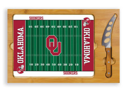 Oklahoma Sooners Picnic Time Icon Glass Top Serving Tray & Knife Set