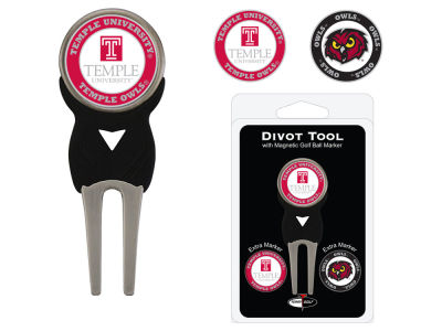 Temple Owls Team Golf Divot Tool Pack With 3 Golf Ball Markers