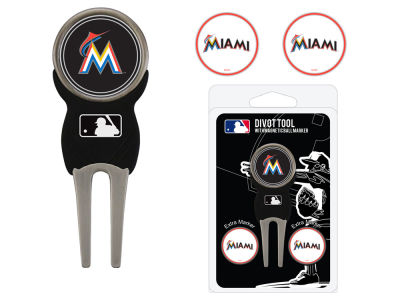 Miami Marlins Team Golf Divot Tool Pack With 3 Golf Ball Markers