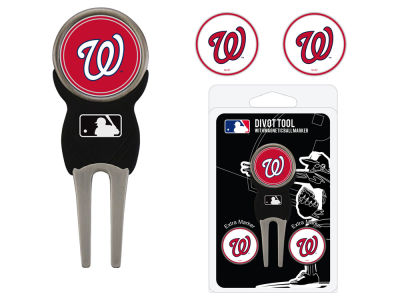 Washington Nationals Team Golf Divot Tool Pack With 3 Golf Ball Markers