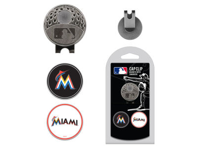Miami Marlins Team Golf Cap Clip With 2 Golf Ball Markers
