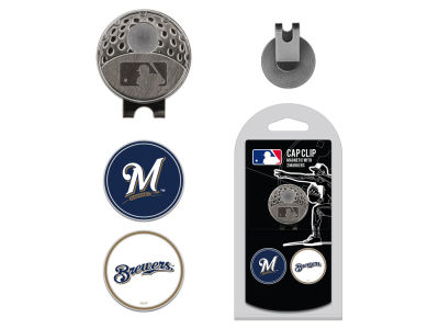 Milwaukee Brewers Team Golf Cap Clip With 2 Golf Ball Markers