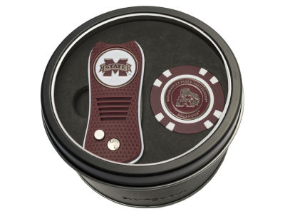 Mississippi State Bulldogs Team Golf Tin Gift Set w/ Switchfix Divot Tool and Golf Chip