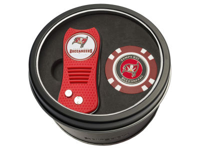 Tampa Bay Buccaneers Team Golf Tin Gift Set w/ Switchfix Divot Tool and Golf Chip