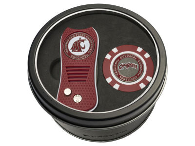 Washington State Cougars Team Golf Tin Gift Set w/ Switchfix Divot Tool and Golf Chip