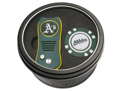 Oakland Athletics Team Golf Tin Gift Set w/ Switchfix Divot Tool and Golf Chip