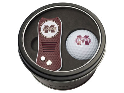 Mississippi State Bulldogs Team Golf Tin Gift Set w/ Switchfix Divot Tool and Golf Ball