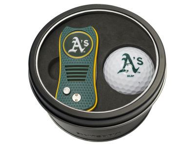 Oakland Athletics Team Golf Tin Gift Set w/ Switchfix Divot Tool and Golf Ball