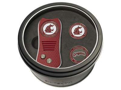 Washington State Cougars Team Golf Tin Gift Set Switchfix Divot Tool 2 Ball Markers