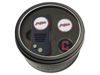 Cleveland Indians Team Golf Tin Gift Set Switchfix Divot Tool 2 Ball Markers