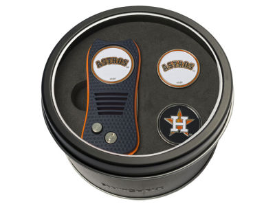 Houston Astros Team Golf Tin Gift Set Switchfix Divot Tool 2 Ball Markers