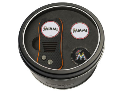 Miami Marlins Team Golf Tin Gift Set Switchfix Divot Tool 2 Ball Markers