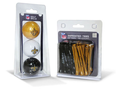 New Orleans Saints Team Golf 3 Golf Balls And 50 Golf Tees Set