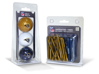 Los Angeles Rams Team Golf 3 Golf Balls And 50 Golf Tees Set