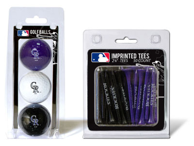 Colorado Rockies Team Golf 3 Golf Balls And 50 Golf Tees Set