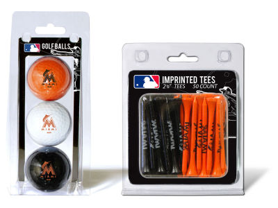 Miami Marlins Team Golf 3 Golf Balls And 50 Golf Tees Set