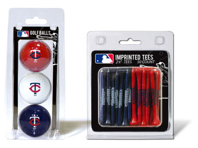 Minnesota Twins Team Golf 3 Golf Balls And 50 Golf Tees Set